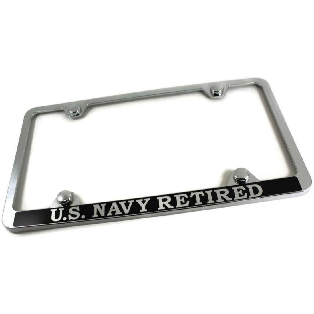RETIRED US COAST GUARD Steel Metal License Plate Chrome//Black