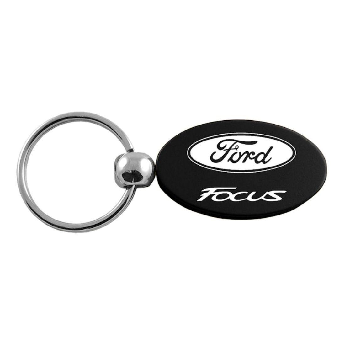 Au-Tomotive Gold INC Ford Flex Black Leather Chrome Car Fob Key Chain Ring