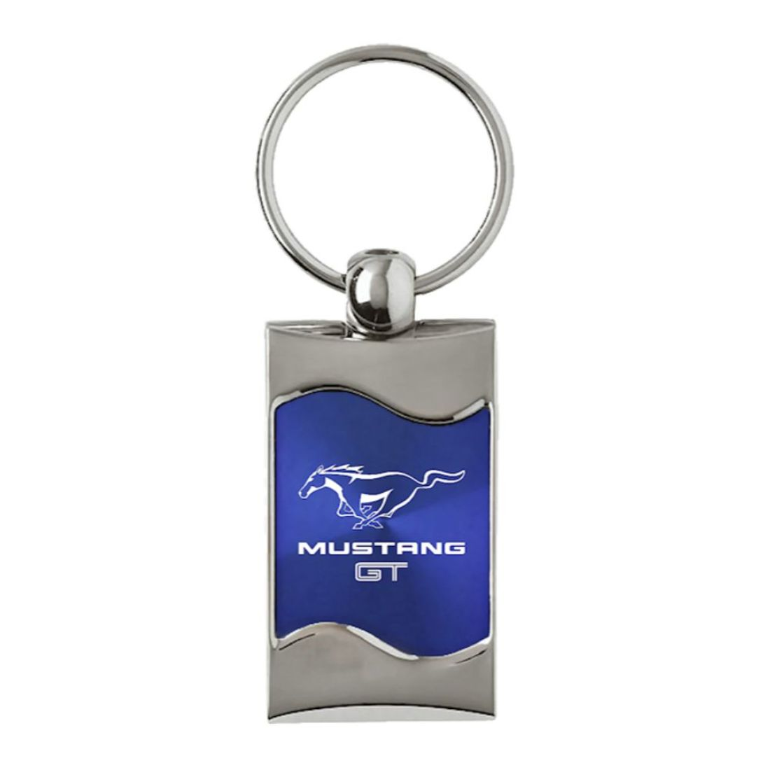 Ford Mustang Logo Blue Aluminum Oval Key Chain INC Au-Tomotive Gold