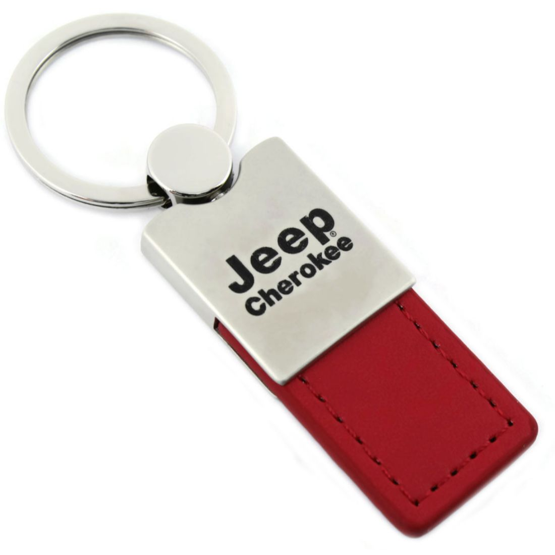 Au-Tomotive Gold Jeep Grand Cherokee Red Leather Car Key Chain INC Official Licensed