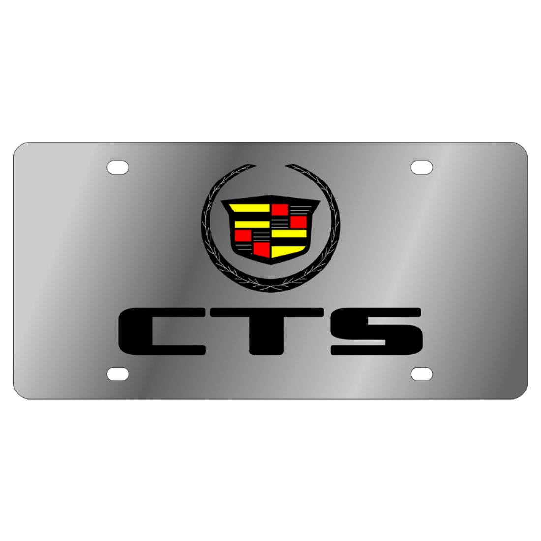 Cadillac CTS Laser Style Stainless Steel Black License Plate Frame Caps
