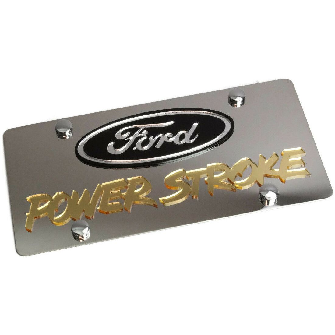 Ford Mirroed Gold Stainless Steel License Plate Frame