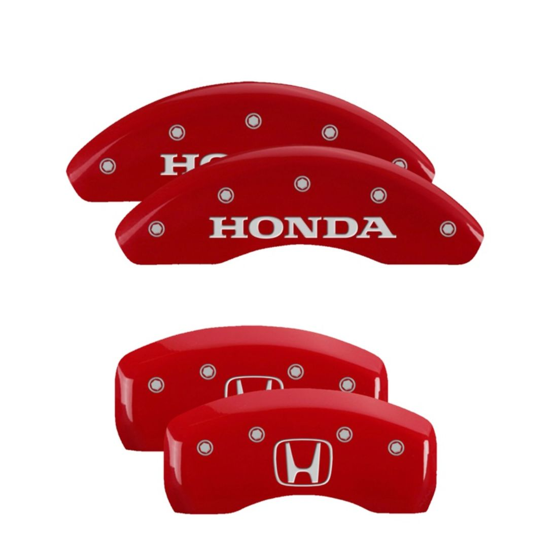 Set of 4 MGP Caliper Covers 20207SHOHRD Red Powder Coat Finish Honda//H Logo Engraved Caliper Cover with Silver Characters